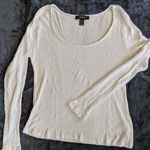 Forever 21+ White Ribbed Sweater